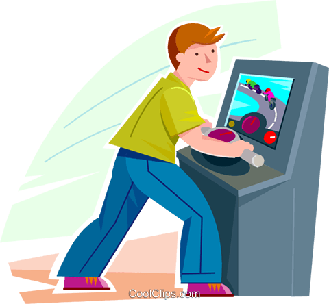 Boy playing a video game Royalty Free Vector Clip Art illustration vc100616