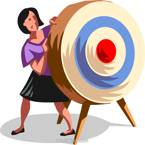 businesswoman hiding behind a target Royalty Free Vector Clip Art illustration vc100716