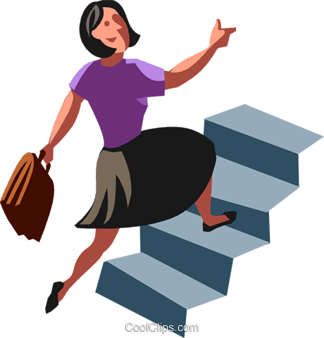 businesswoman running up stairs Royalty Free Vector Clip Art illustration vc100744