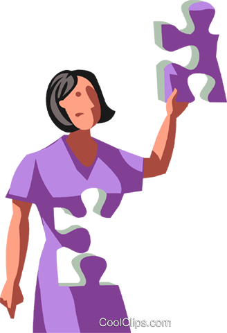 woman as a puzzle Royalty Free Vector Clip Art illustration vc100747