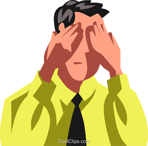 businessman covering his eyes Royalty Free Vector Clip Art illustration vc100764