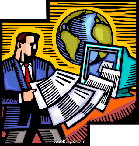 Doing Paperwork Royalty Free Vector Clip Art illustration vc100934