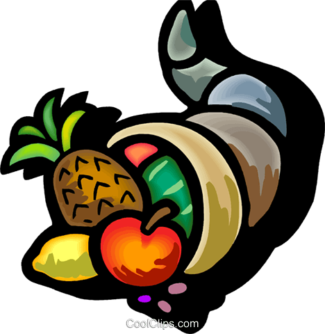 cornucopia filled with fruit Royalty Free Vector Clip Art illustration vc101835