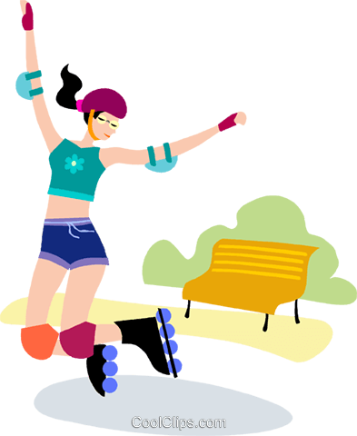 Rollerblading Royalty Free Vector Clip Art illustration vc102861