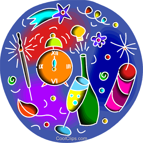 Champagne, fireworks and alarm clock Royalty Free Vector Clip Art illustration vc102912