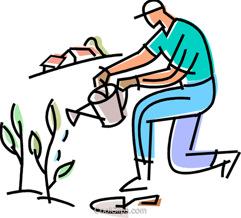 Gardener Watering His Plants Royalty Free Vector Clip Art Illustration Vc103129 Coolclips Com