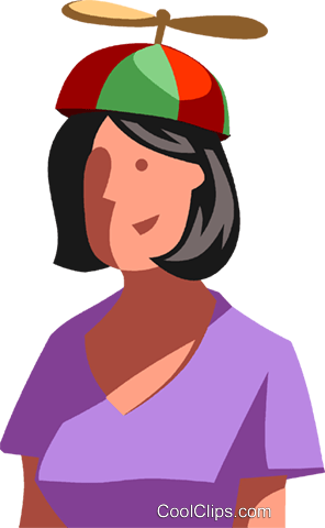 businesswoman with beanie hat Royalty Free Vector Clip Art illustration vc104598