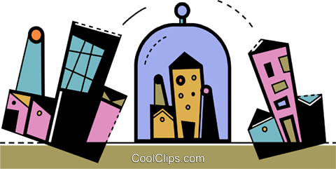 Factories and Refineries Royalty Free Vector Clip Art illustration vc105296