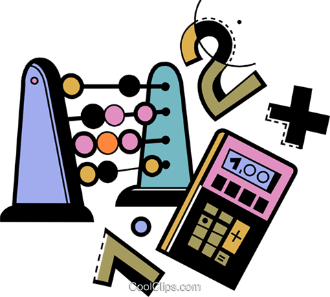 an abacus , calculator, and numbers Royalty Free Vector Clip Art ...