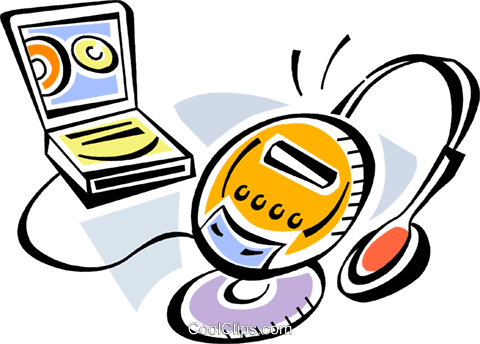 Portable CD-ROM Players Royalty Free Vector Clip Art illustration vc105379