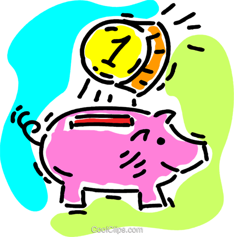 piggy bank Royalty Free Vector Clip Art illustration vc105619