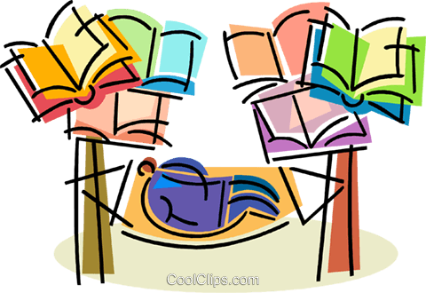 People with Books Royalty Free Vector Clip Art illustration vc105687