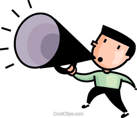 man making announcements Royalty Free Vector Clip Art illustration vc106607