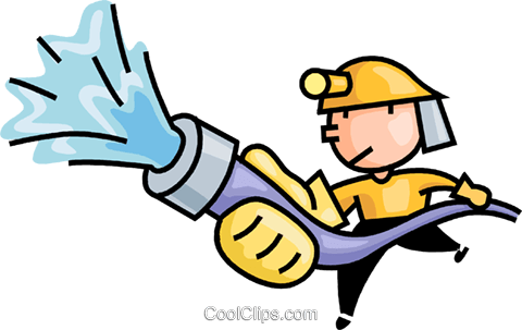 fireman fighting a fire Royalty Free Vector Clip Art illustration vc106616