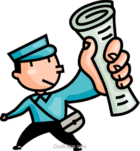 paper boy delivering the newspapers royalty free vector clip