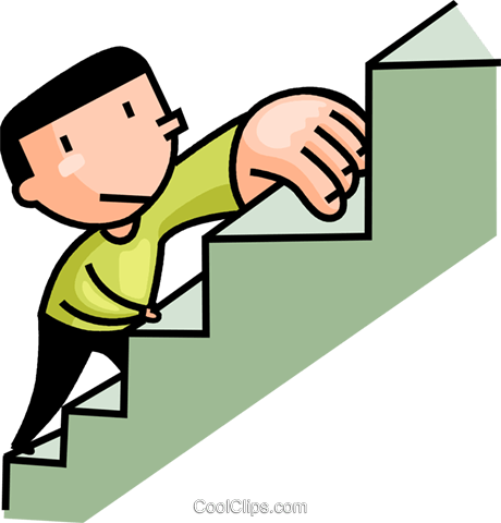 man climbing the stairs Royalty Free Vector Clip Art illustration vc106627