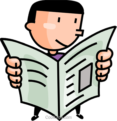 man reading the newspaper Royalty Free Vector Clip Art ...