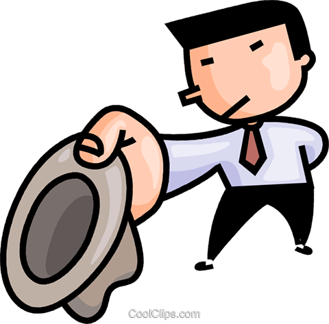 businessman with a hat Royalty Free Vector Clip Art illustration vc106642