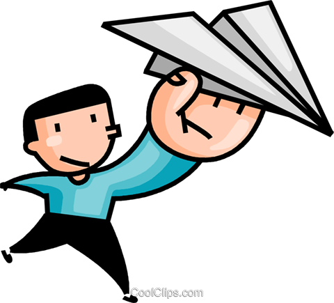 Boy with a paper airplane Royalty Free Vector Clip Art illustration vc106643