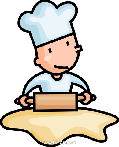 baker rolling dough Royalty Free Vector Clip Art illustration vc106644