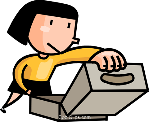 woman looking into a box Royalty Free Vector Clip Art illustration vc106655