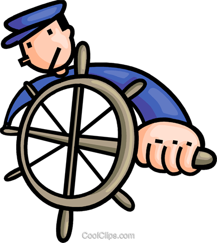 Captain at the helm Royalty Free Vector Clip Art illustration vc106663