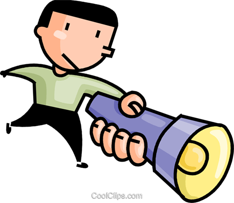 man with a flashlight Royalty Free Vector Clip Art illustration vc106675