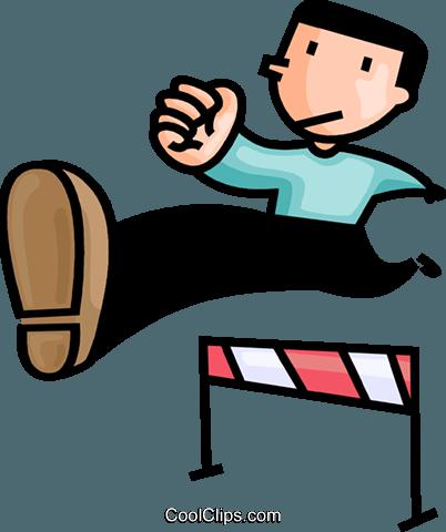 男人奔跑的障碍 免版税矢量剪贴画插图