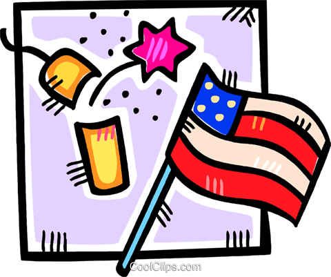 fire cracker and a American flag Royalty Free Vector Clip Art illustration vc107102