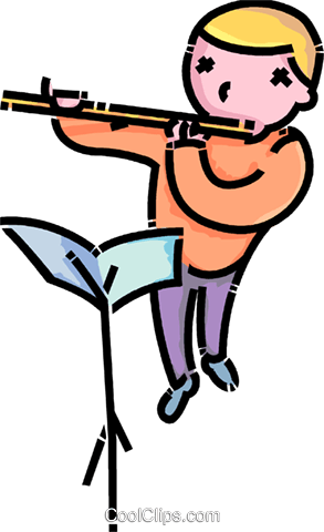 boy playing the flute Royalty Free Vector Clip Art illustration vc107545