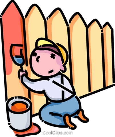 Boy Painting A Fence Royalty Free Vector Clip Art Illustration