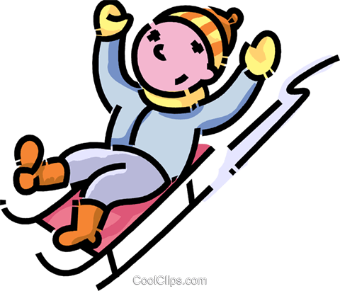 boy sliding down a hill on his toboggan Royalty Free Vector Clip ...