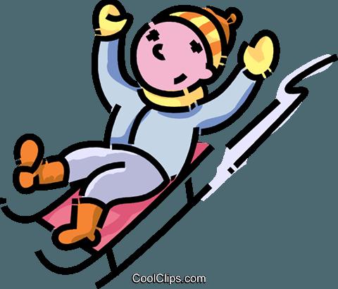 boy sliding down a hill on his toboggan Royalty Free Vector Clip ...
