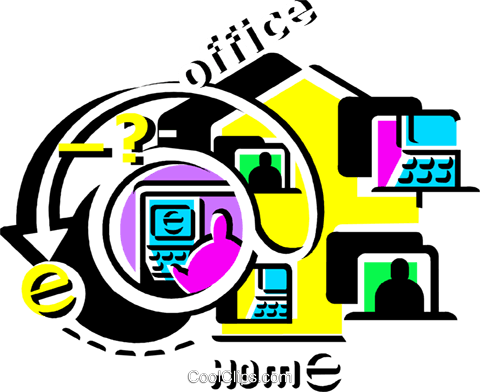 Working at Home Royalty Free Vector Clip Art illustration vc108530