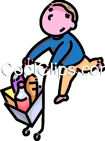 boy with a shopping cart Royalty Free Vector Clip Art illustration vc109121