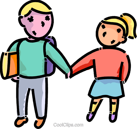 brother an sister on the way to school royalty free vector clip art