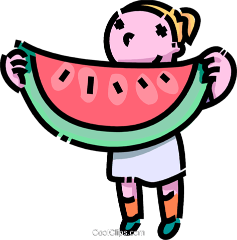 Girl with a huge piece of watermelon Royalty Free Vector Clip Art illustration vc109140