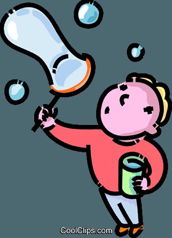 男孩吹泡泡 免版税矢量剪贴画插图