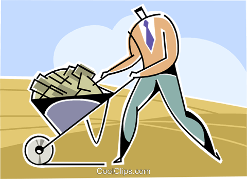 businessman with a wheelbarrow Royalty Free Vector Clip Art illustration vc109318