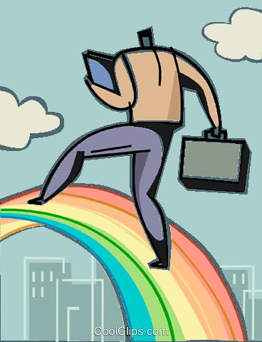 商人爬彩虹 免版税矢量剪贴画插图