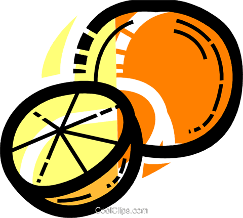 Sliced orange Royalty Free Vector Clip Art illustration vc109975