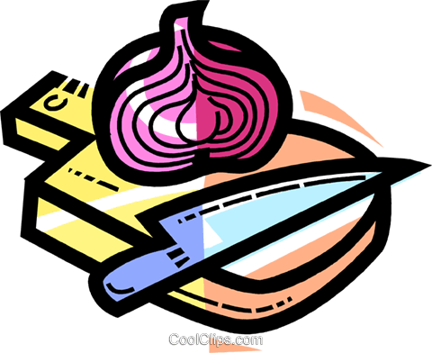 onion on a cutting board Royalty Free Vector Clip Art illustration vc109989