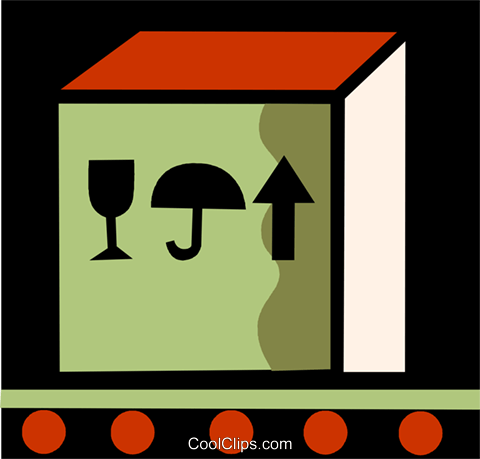 shipment on a conveyor belt Royalty Free Vector Clip Art illustration vc110030