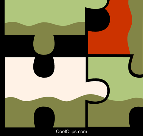 Pieces of a Puzzle Royalty Free Vector Clip Art illustration vc110149