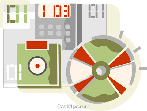 cd and a diskette Royalty Free Vector Clip Art illustration vc110155