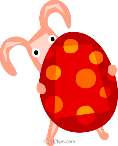 Easter bunny holding an Easter egg Royalty Free Vector Clip Art illustration vc110440