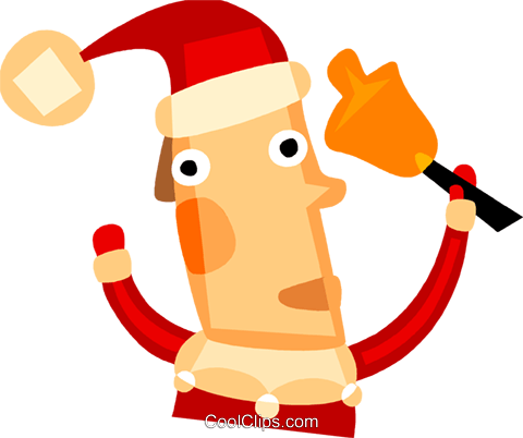 Santa Claus ringing a bell Royalty Free Vector Clip Art illustration vc110456