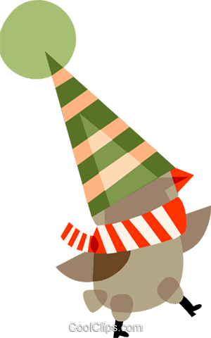 Santa's helper wearing a hat Royalty Free Vector Clip Art illustration vc110465