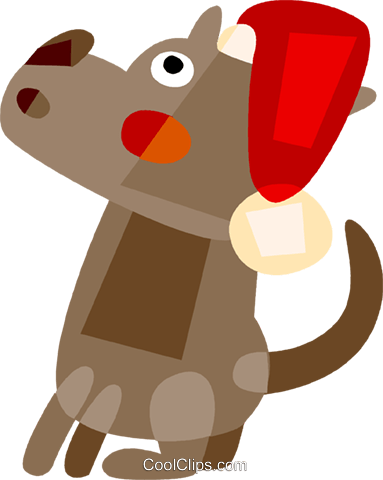 dog with Santa's hat Royalty Free Vector Clip Art illustration vc110495