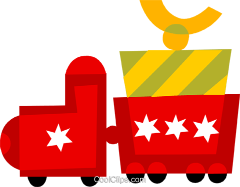 toy train carrying a present Royalty Free Vector Clip Art illustration vc110530